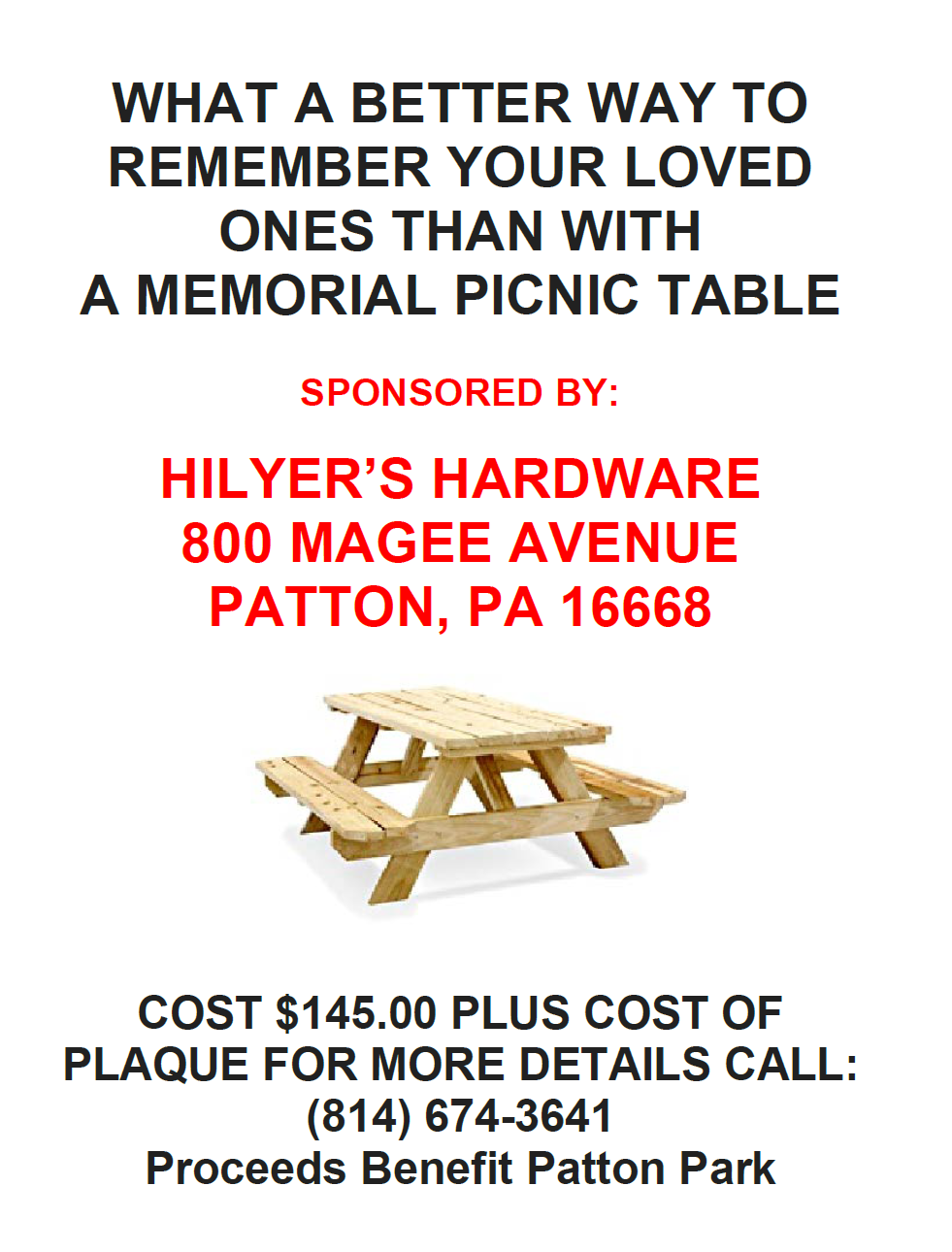 2017 Picnic Table