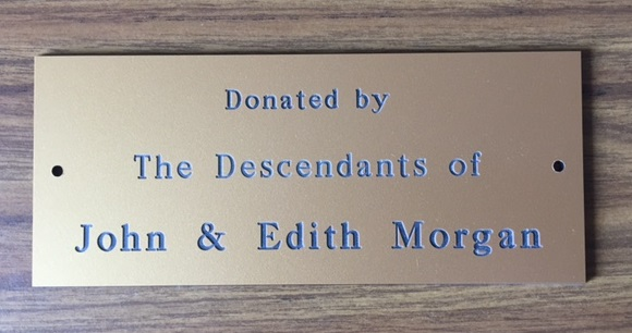 2017 Donated by The Descendants of John & Edith Morgan